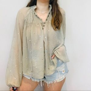 Free people light green sheer oversized blouse